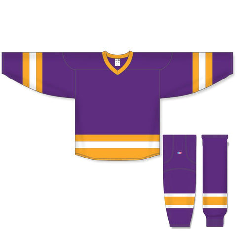 Athletic Knit Custom Purple/Gold/White 6500 Jersey - Discount Hockey