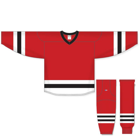 Athletic Knit Custom Red/White/Black 6500 Jersey - Discount Hockey