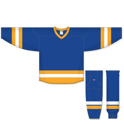 Athletic Knit Custom Royal/Gold/White 6500 Jersey - Discount Hockey