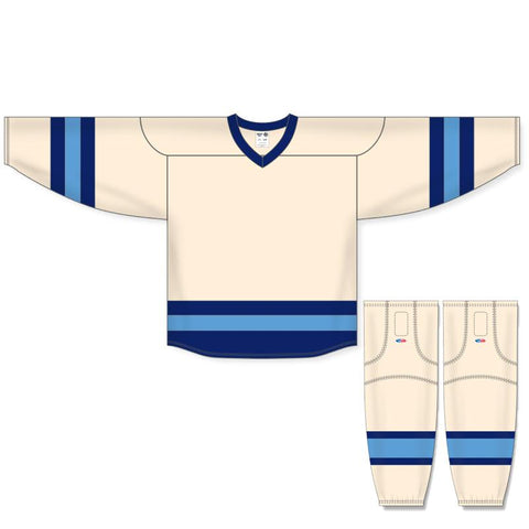 Athletic Knit Custom Sand/Navy/Sky Blue 6500 Jersey - Discount Hockey