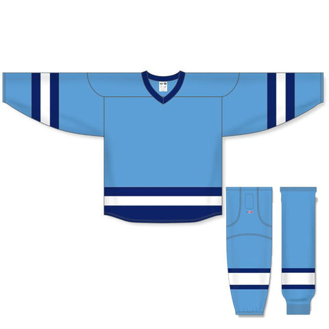 Athletic Knit Custom Sky Blue/Navy/White 6500 Jersey - Discount Hockey