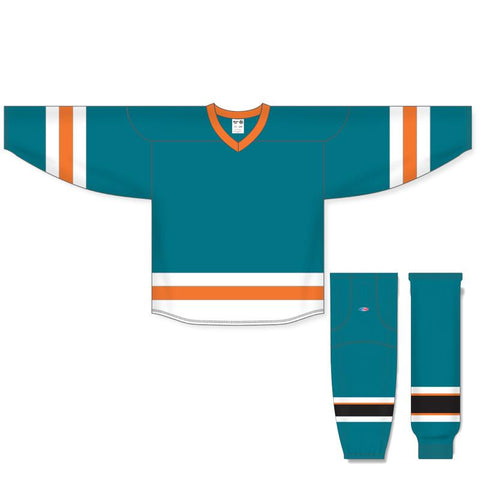Athletic Knit Custom Pacific Teal/Orange/White 6500 Jersey - Discount Hockey