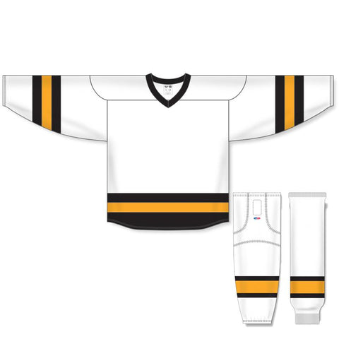 Athletic Knit Custom White/Black/Gold 6500 Jersey - Discount Hockey