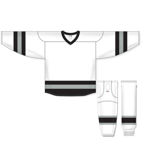 Athletic Knit Custom White/Black/Grey 6500 Jersey - Discount Hockey