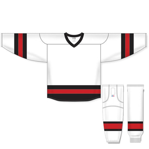 Athletic Knit Custom White/Red/Black 6500 Jersey - Discount Hockey