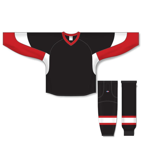 Athletic Knit Custom Black/Red/White 6600 Jersey - Discount Hockey