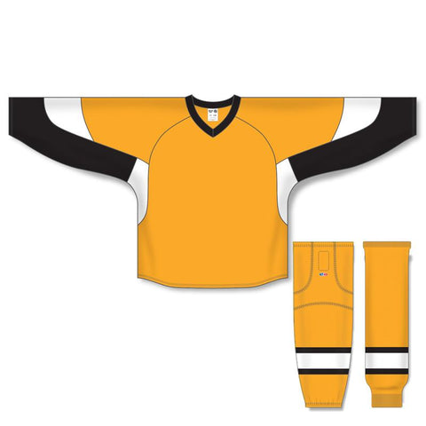 Athletic Knit Custom Gold/Black/White 6600 Jersey - Discount Hockey
