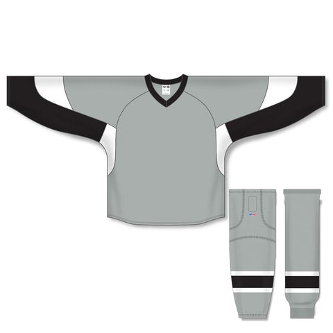 Athletic Knit Custom Grey/Black/White 6600 Jersey - Discount Hockey