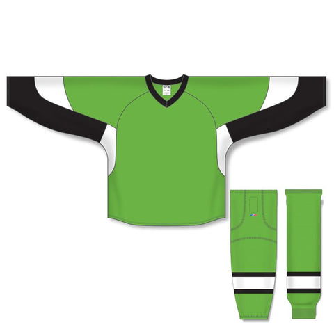 Athletic Knit Custom Lime Green/Black/White 6600 Jersey - Discount Hockey