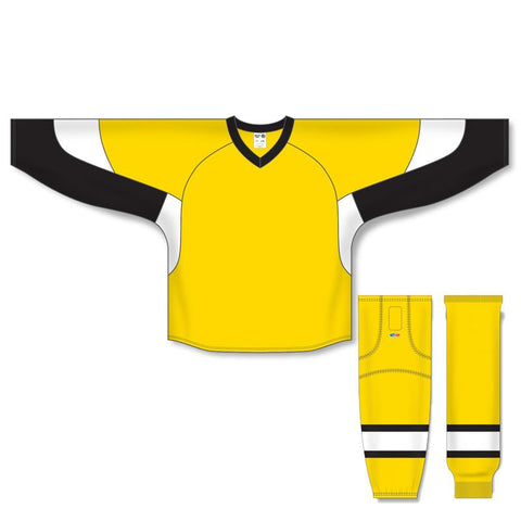 Athletic Knit Custom Maize/Black/White 6600 Jersey - Discount Hockey