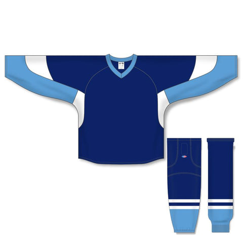 Athletic Knit Custom Navy/Sky Blue/White 6600 Jersey - Discount Hockey