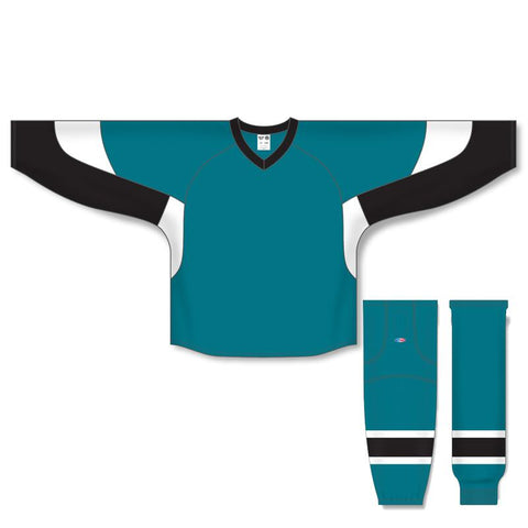 Athletic Knit Custom Pacific Teal/Black/White 6600 Jersey - Discount Hockey