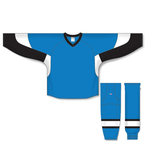 Athletic Knit Custom Pro Blue/Black/White 6600 Jersey - Discount Hockey