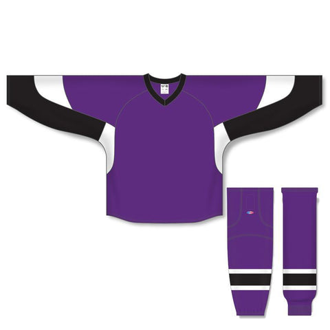 Athletic Knit Custom Purple/Black/White 6600 Jersey - Discount Hockey