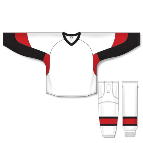 Athletic Knit Custom White/Black/Red 6600 Jersey - Discount Hockey