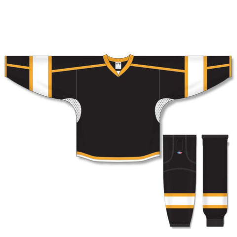 Athletic Knit Custom Black/White/Gold 7000 Jersey - Discount Hockey