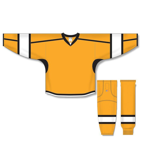 Athletic Knit Custom Gold/White/Black 7000 Jersey - Discount Hockey