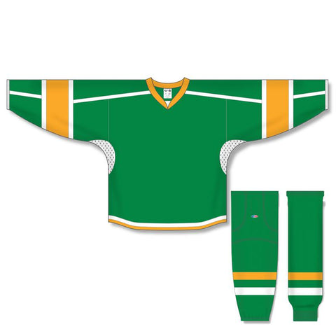 Athletic Knit Custom Kelly Green/Gold/White 7000 Jersey - Discount Hockey
