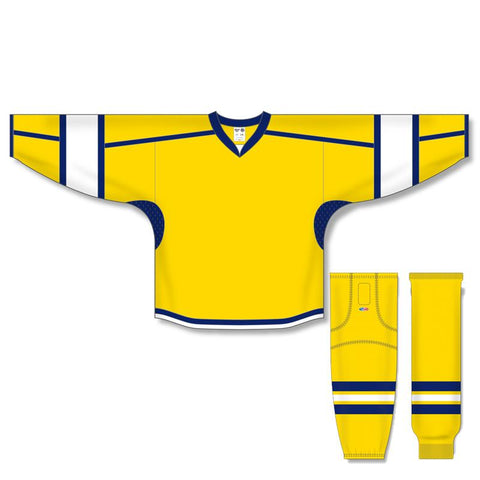 Athletic Knit Custom Maize/White/Navy 7000 Jersey - Discount Hockey