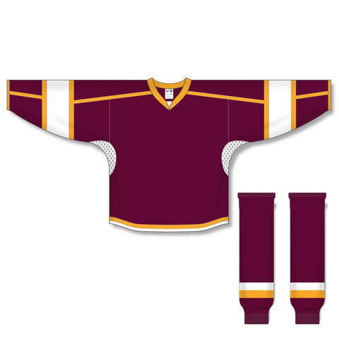 Athletic Knit Custom Maroon/White/Gold 7000 Jersey - Discount Hockey