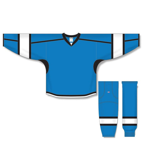 Athletic Knit Custom Pro Blue/White/Black 7000 Jersey - Discount Hockey