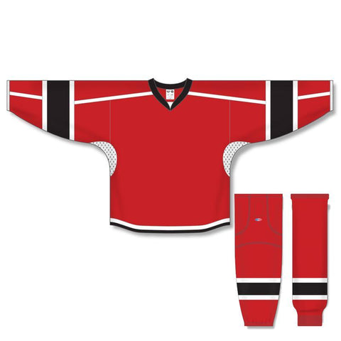 Athletic Knit Custom Red/Black/White 7000 Jersey - Discount Hockey