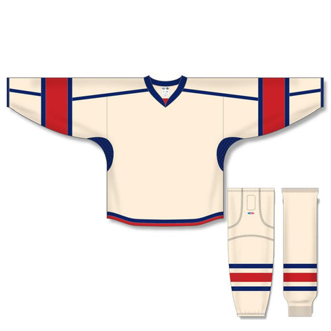 Athletic Knit Custom Sand/Red/Navy 7000 Jersey - Discount Hockey