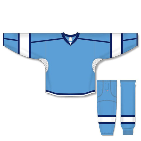 Athletic Knit Custom Sky Blue/White/Navy 7000 Jersey - Discount Hockey