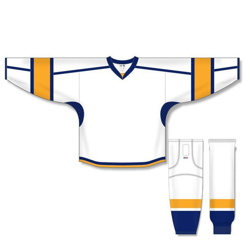 Athletic Knit Custom White/Gold/Navy 7000 Jersey - Discount Hockey