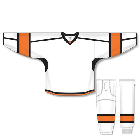 Athletic Knit Custom White/Orange/Black 7000 Jersey - Discount Hockey