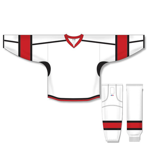 Athletic Knit Custom White/Red/Black 7000 Jersey - Discount Hockey
