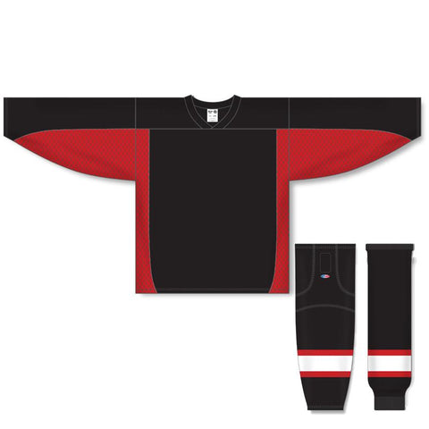 Athletic Knit Custom Black/Red 7100 Jersey - Discount Hockey