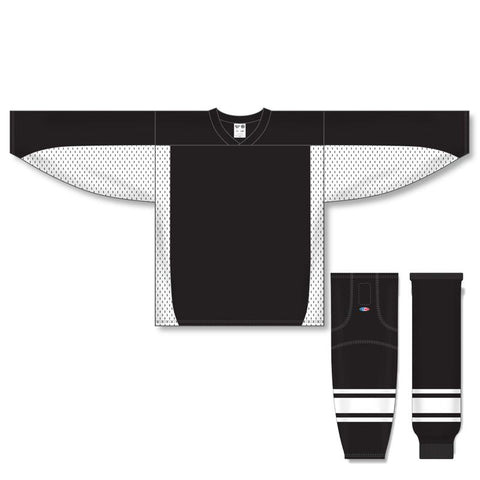 Athletic Knit Custom Black/White 7100 Jersey - Discount Hockey