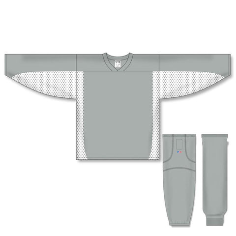 Athletic Knit Custom Grey/White 7100 Jersey - Discount Hockey