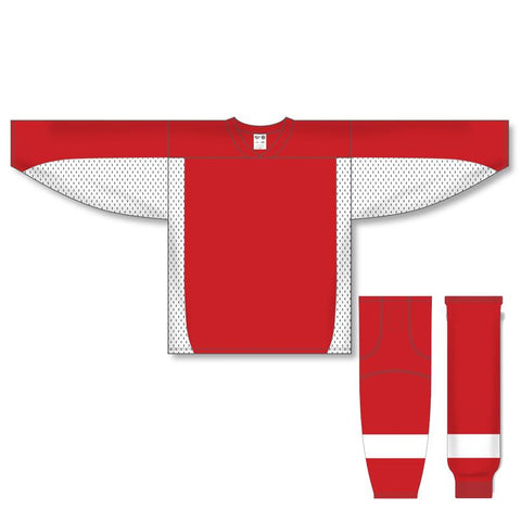 Athletic Knit Custom Red/White 7100 Jersey - Discount Hockey