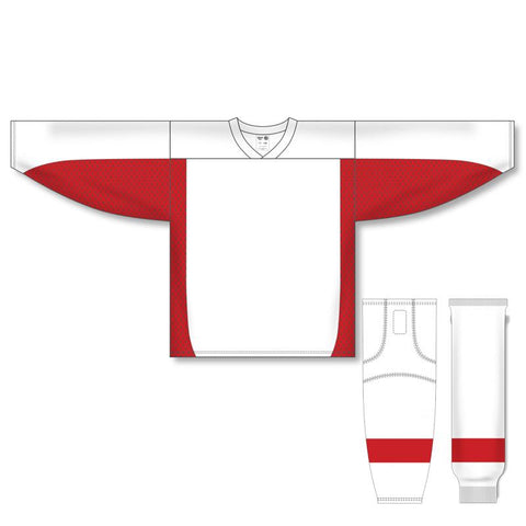 Athletic Knit Custom White/Red 7100 Jersey - Discount Hockey