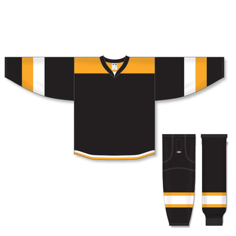 Athletic Knit Custom Black/Gold/White 7400 Jersey - Discount Hockey