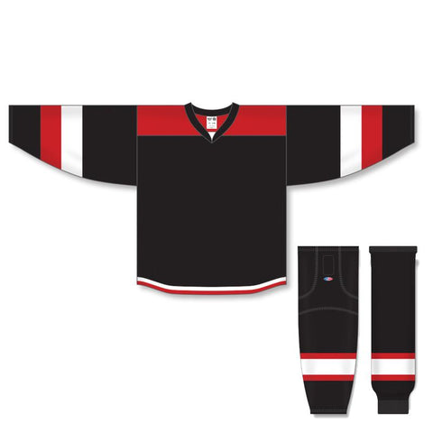 Athletic Knit Custom Black/Red/White 7400 Jersey - Discount Hockey