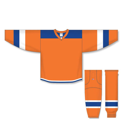 Athletic Knit Custom Orange/Royal/White 7400 Jersey - Discount Hockey