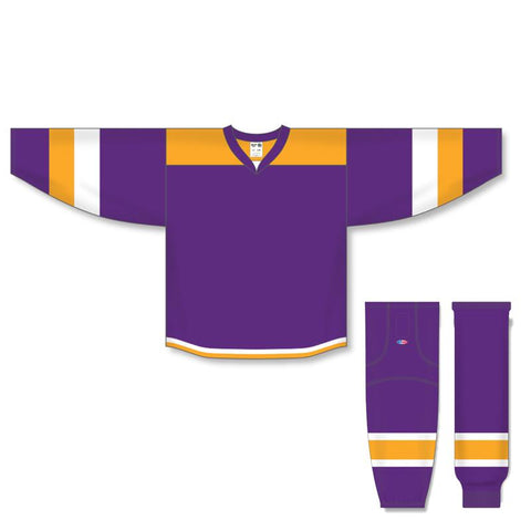 Athletic Knit Custom Purple/Gold/White 7400 Jersey - Discount Hockey
