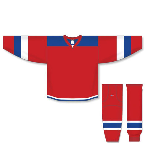 Athletic Knit Custom Red/Royal/White 7400 Jersey - Discount Hockey