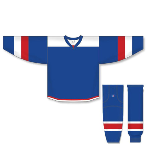Athletic Knit Custom Royal/White/Red 7400 Jersey - Discount Hockey