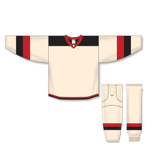 Athletic Knit Custom Sand/Black/Red 7400 Jersey - Discount Hockey