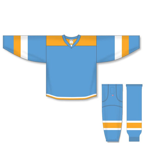 Athletic Knit Custom Sky Blue/Gold/White 7400 Jersey - Discount Hockey