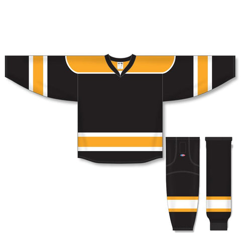 Athletic Knit Custom Black/Gold/White 7500 Jersey - Discount Hockey