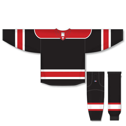 Athletic Knit Custom Black/Red/White 7500 Jersey - Discount Hockey