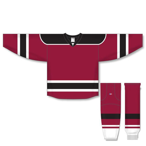 Athletic Knit Custom Burgundy/Black/White 7500 Jersey - Discount Hockey