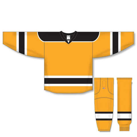 Athletic Knit Custom Gold/Black/White 7500 Jersey - Discount Hockey