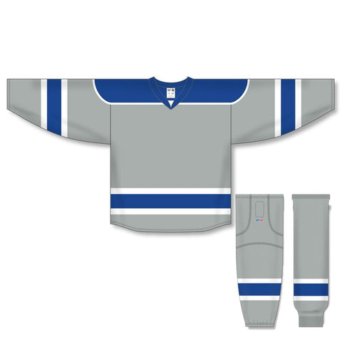 Athletic Knit Custom Grey/Royal/White 7500 Jersey - Discount Hockey