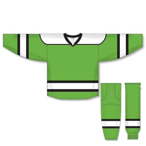 Athletic Knit Custom Lime Green/White/Black 7500 Jersey - Discount Hockey